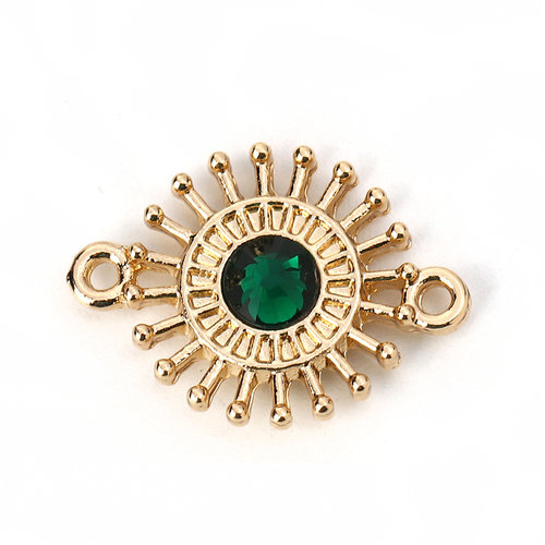 3 pieces Connector Sun Gold Plated 20x15mm Emerald