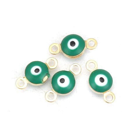 3 stuks Evil Eye Tussenzetsel Gold Plated 9x5mm Groen