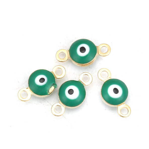 3 pieces Evil Eye Connector Gold Plated 9x5mm Green
