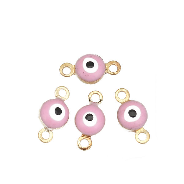 3 pieces Evil Eye Connector Gold Plated 9x5mm Pink