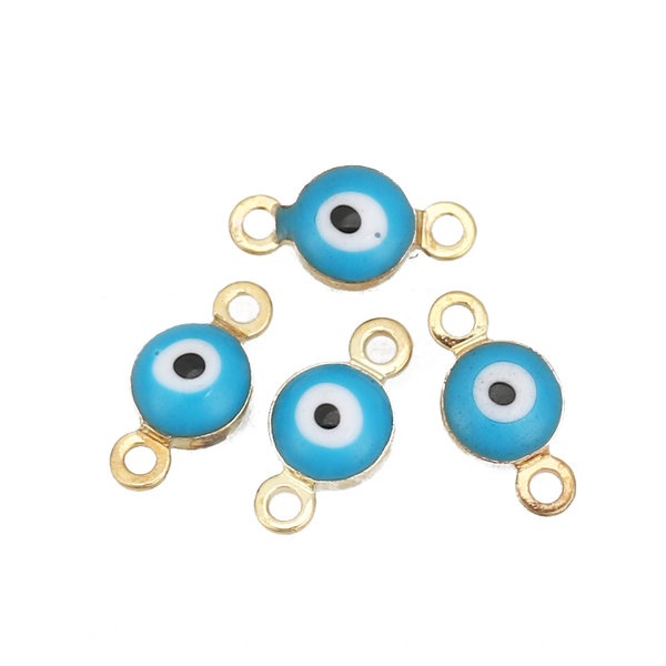 3 pieces Evil Eye Connector Gold Plated 9x5mm Aqua Blue