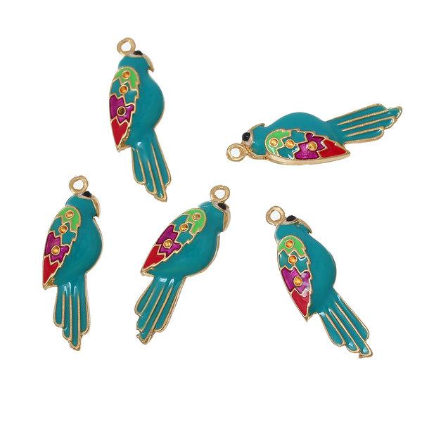 3 pieces Parrot Charm Multi Color 30x20mm