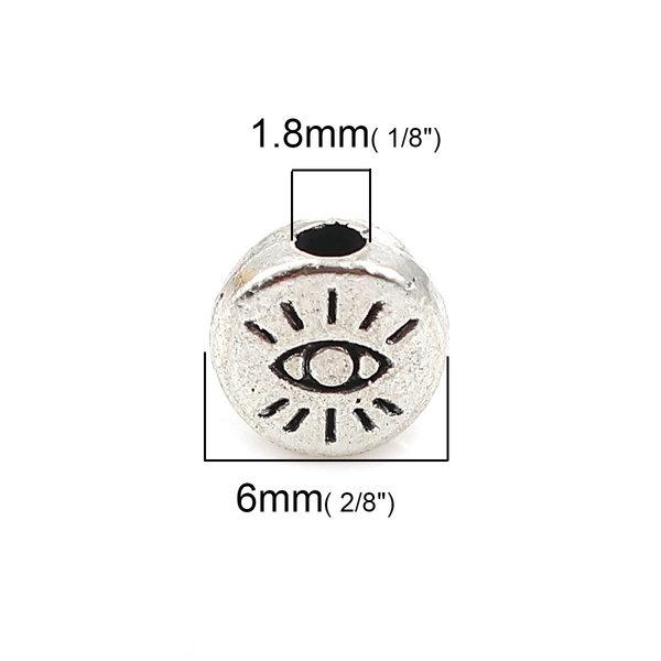 8 stuks Spacer Beads met Oog Zilver 6mm