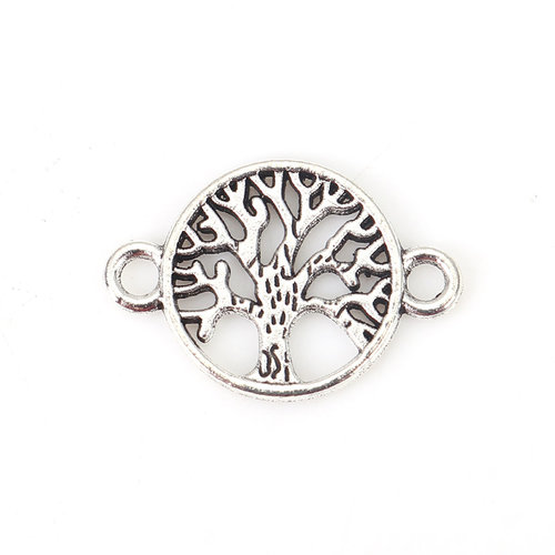 5 pieces Connector Tree of Life 23x15mm Silver