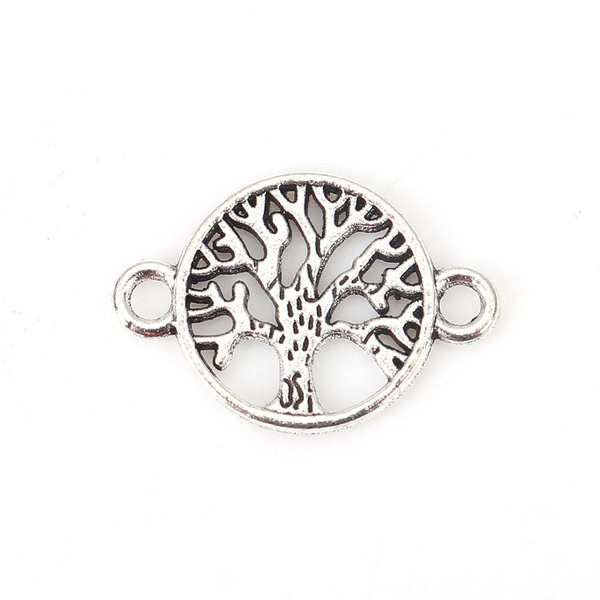 5 stuks Connector Tree of Life 23x15mm Zilver