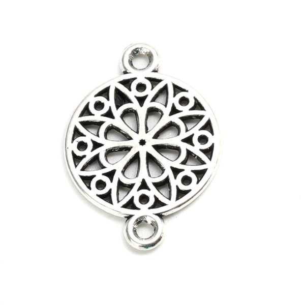 6 pieces Connector Mandala 21x14mm Silver