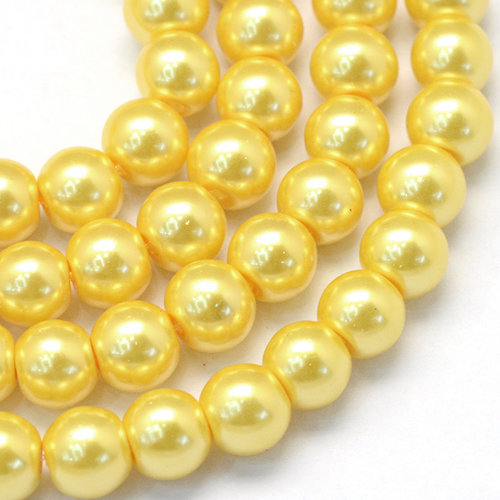100 pieces Glasspearls 3mm Gold Yellow