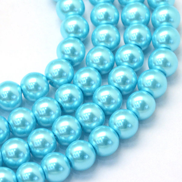 100 pieces Glasspearls 3mm Aqua Blue