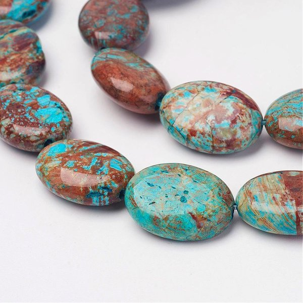3 pieces Natural Chrysocolla Beads 19x21mm