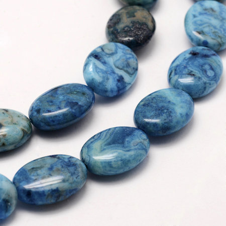 Crazy Agate Beads Blue 18x13mm, strand 22 pieces
