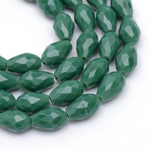 10 stuks Druppelkralen Donker Groen 11x8mm