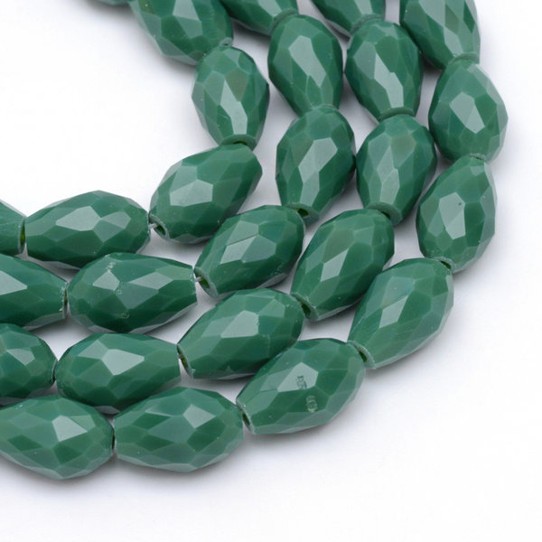 10 pieces Dropbeads Dark Green 11x8mm