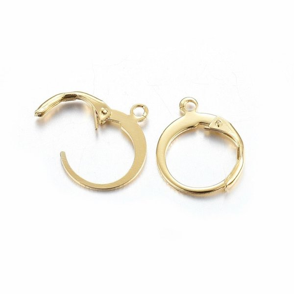 Stainless Steel Earring Hooks Gold 12x15mm, 4 pieces