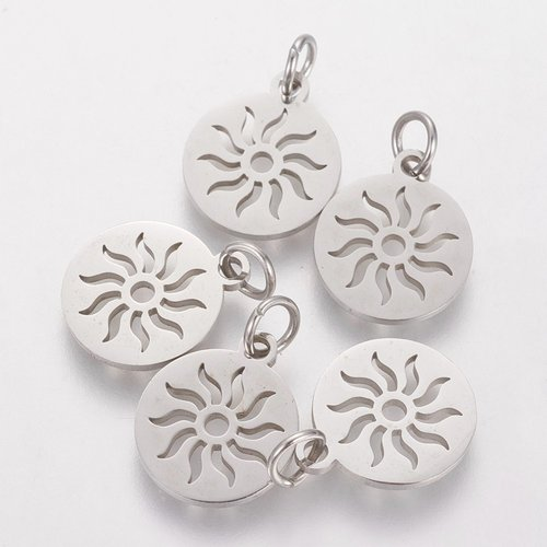 Stainless Steel Sun Charm Silver 12mm