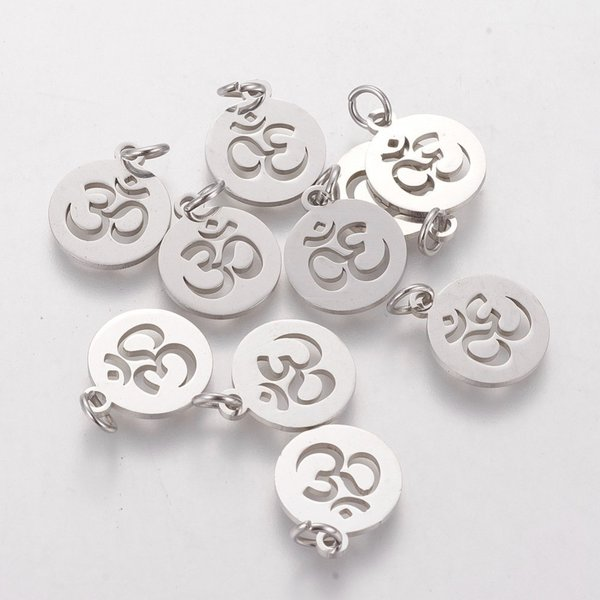 Stainless Steel Ohm Charm Silver 12mm