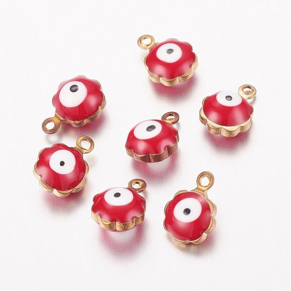 Charm with Eye White and Red 9x7mm, 5 pieces