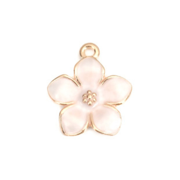 3 pieces Flower Charm Gold Plated 17x15mm White