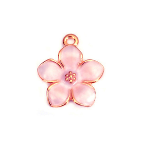 3 pieces Flower Charm Gold Plated 17x15mm Pink