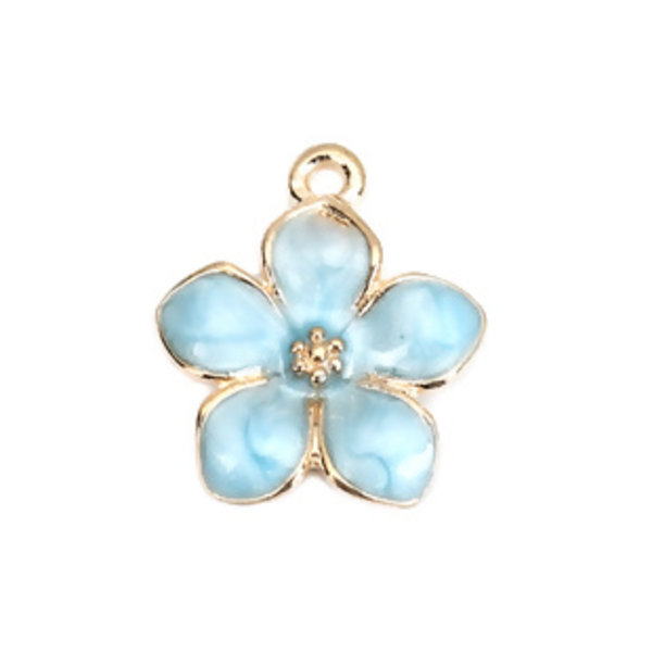 3 pieces Flower Charm Gold Plated 17x15mm Blue