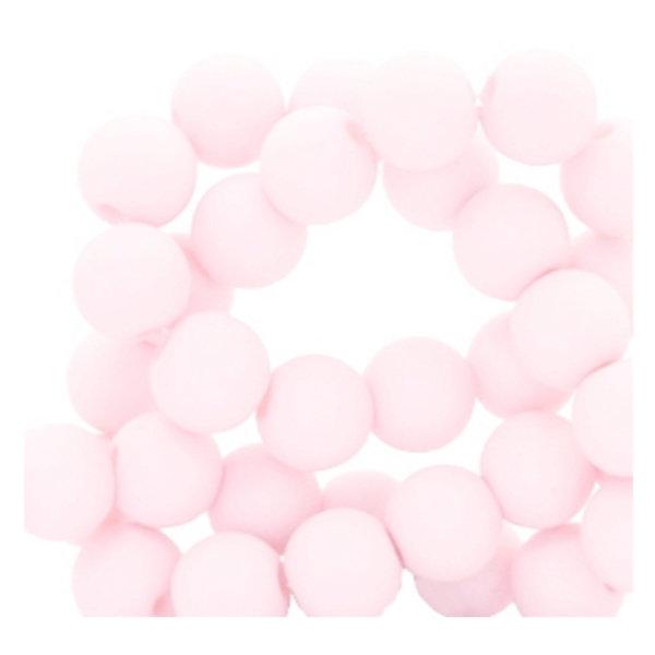 100 stuks Matte Acryl Kralen Baby Roze  6mm