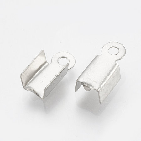 20 pieces Stainless Steel Cord End Silver 9x4mm