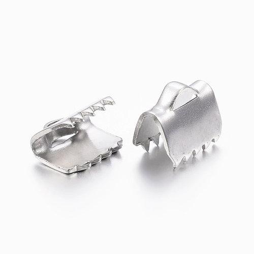 20 stuks Stainless Steel Veterklem Zilver 6x6mm