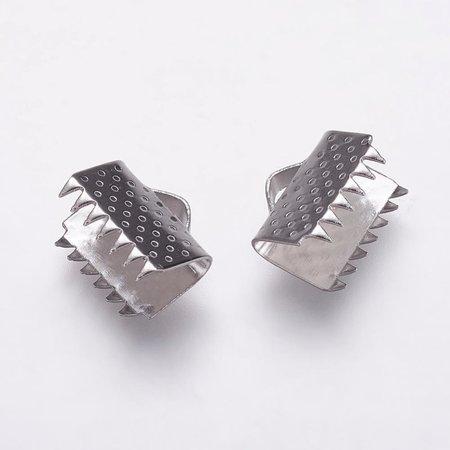 10 stuks Stainless Steel Veterklem Zilver 9x10mm
