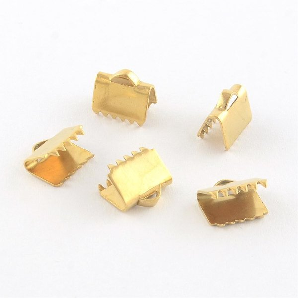 10 pieces Stainless Steel Ribbon End Golden 6x6mm