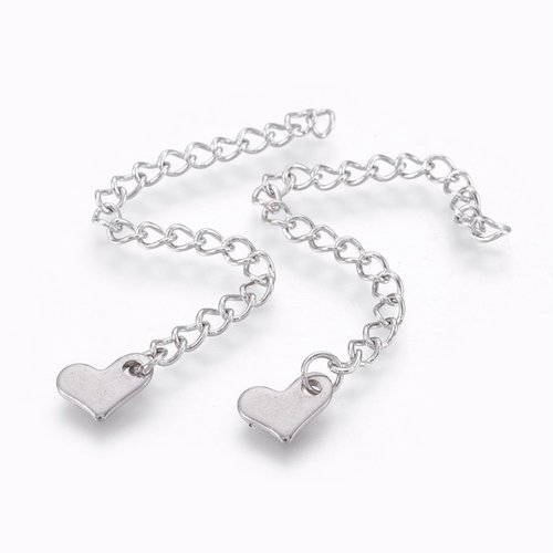 5 pieces Stainless Steel Chain Extension Heart 70x3mm