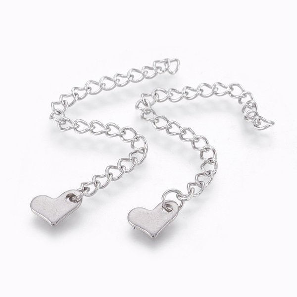 5 pieces Stainless Steel Chain Extension Heart Silver 70x3mm