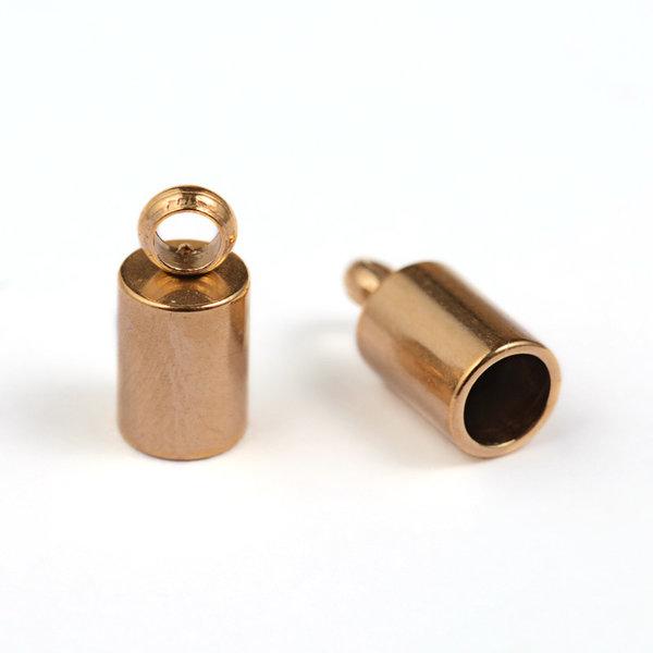 10 stuks Stainless Steel Eindkapje 8x4mm voor 3mm Koord Goud