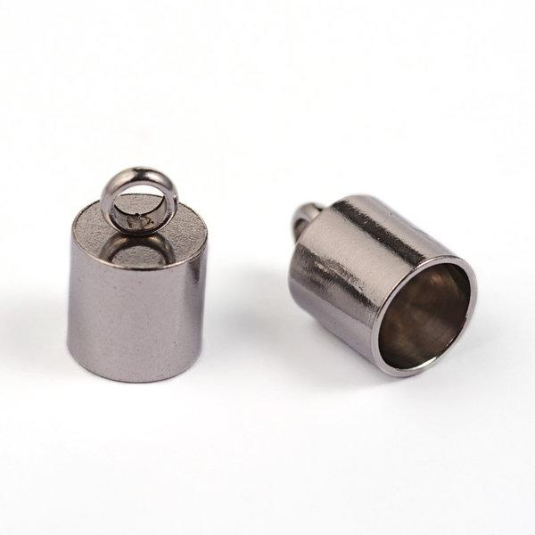 6 stuks Stainless Steel Eindkap Zilver 11x7mm voor 6mm Koord