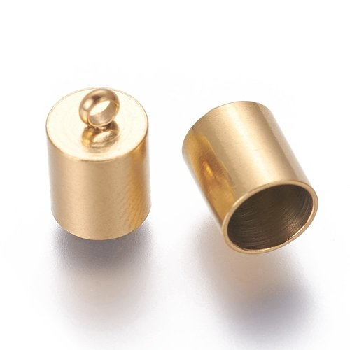 6 stuks Stainless Steel Eindkap voor 6mm Koord Goud