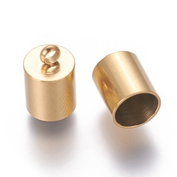 6 pieces Stainless Steel Endcap Golden 11x7mm fits 6mm Cord