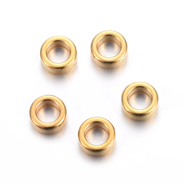 10 pieces Stainless Steel Spacer Beads Golden 5x2mm hole size 3mm
