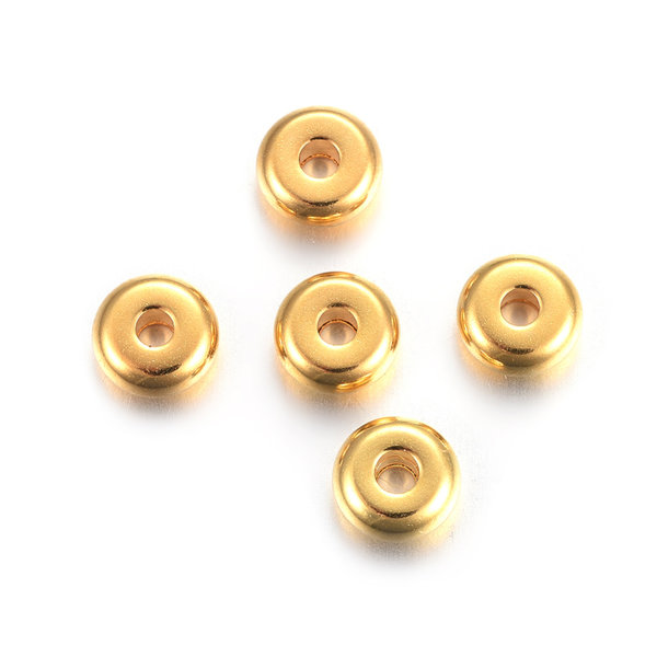 10 stuks Stainless Steel Spacer Beads Goud 6x3mm