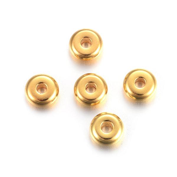 10 stuks Stainless Steel Spacer Beads Goud 6x3mm