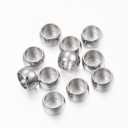 10 pieces Stainless Steel Spacer Beads 8x5mm
