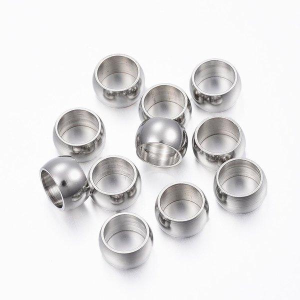 10 stuks Stainless Steel Spacer Beads Kralen Zilver 8mm rijggat 6mm