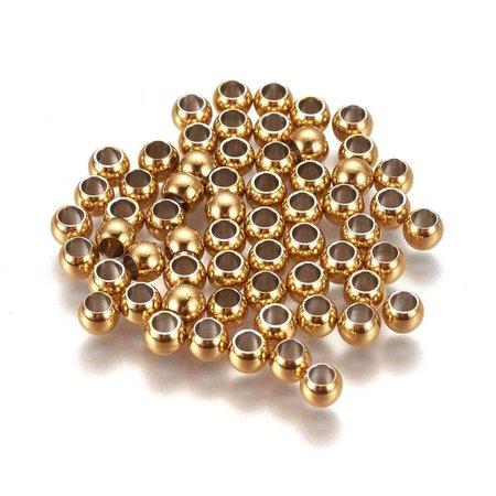 20 stuks Stainless Steel Spacer Beads Goud 4x3mm