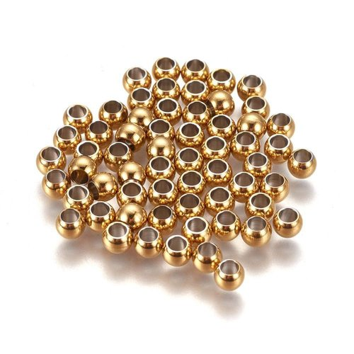 20 stuks Stainless Steel Spacer Beads Goud 4x3mm