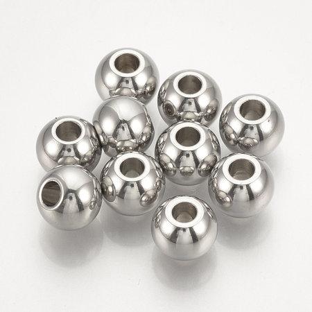 30 stuks Stainless Steel Spacer Beads 3x2mm Zilver