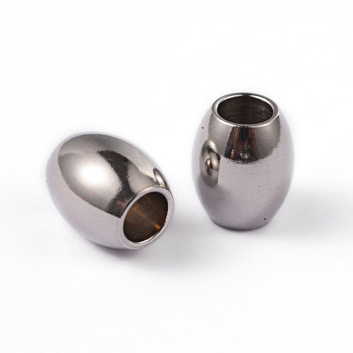 10 pieces Stainless Steel Barrel Beads 7x6mm