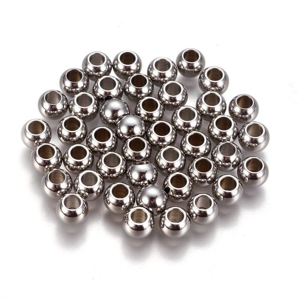 20 pieces Stainless Steel Spacer Beads Silver 6x5mm, hole size 2.5mm
