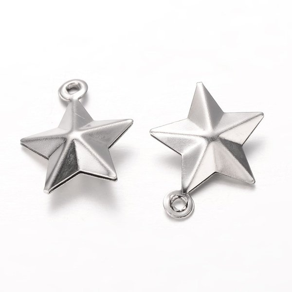 5 pieces Stainless Steel Star Charm 14x12mm Silver