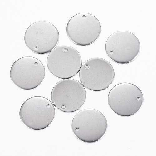5 pieces Stainless Steel Coin Charm 15mm Silver