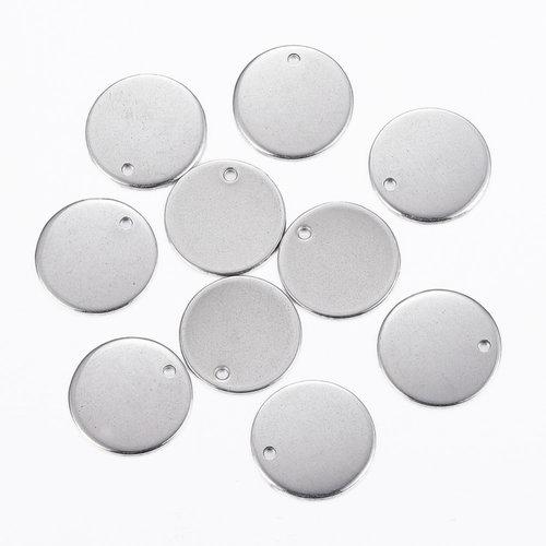 5 stuks Stainless Steel Muntje Bedel 15mm Zilver