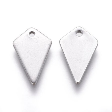 5 pieces Stainless Steel Rhombus Charm Silver 15x9mm