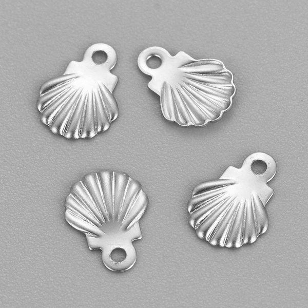 5 pieces Stainless Steel Shell Charm Silver 8x6mm