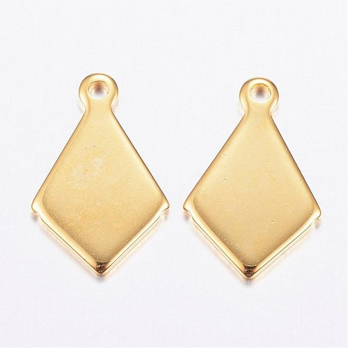 4 pieces Stainless Steel Rhombus Charm 13x8mm Golden